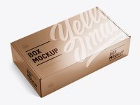 Metallic Carton Box Mockup - Half Side View (high-angle shot)