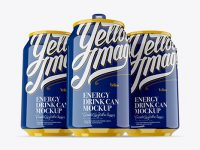 Three 330ml Glossy Aluminium Cans Mockup - Hero Shot