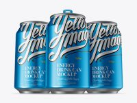 Three 330ml Aluminium Cans With Metallic Finish Mockup - Hero Shot
