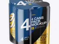 4 Metallic Cans in Shrink Wrap Mockup - Half Side View (High Angle Shot)