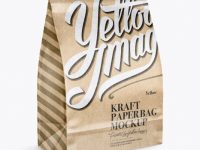 Glossy Kraft Paper Bag Mockup - Half Side View