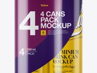 4 Glossy Cans in Shrink Wrap Mockup - Front View