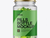 Clear Glass Softgels Bottle With Metal Cap Mockup - Front View