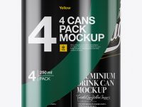 4 Matte Cans in Shrink Wrap Mockup - Front View