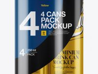 4 Metallic Cans in Shrink Wrap Mockup - Front View