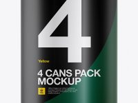 4 Cans in Matte Shrink Wrap Mockup - Front View
