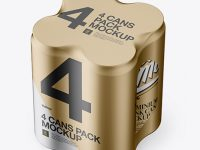 4 Cans in Matte Metallic Shrink Wrap Mockup - Half Side View (High Angle Shot)