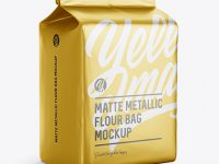 Matte Metallic Flour Bag Mockup - Halfside View (Eye-Level Shot)