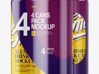 4 Glossy Cans in Shrink Wrap Mockup - Half Side View