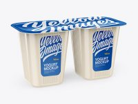 2 Pack Yoghurt Mockup - Half Side View (High Angle Shot)