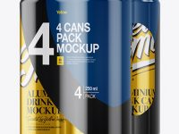 4 Metallic Cans in Shrink Wrap Mockup - Half Side View
