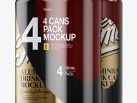 4 Matte Metallic Cans in Shrink Wrap Mockup - Half Side View
