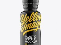 Bottle In Glossy Shrink Sleeve Mockup - Front View