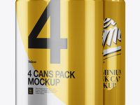 4 Cans in Metallic Shrink Wrap Mockup - Half Side View