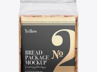 Bag W/ Sliced Bread & Paper Label Mockup - Front View