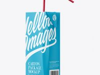 Carton Package with Straw Mockup - Half Side View