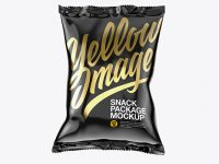 Glossy Snack Package Mockup - Front View