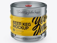 30L Glossy Beer Keg Mockup - Front View (High-Angle Shot)