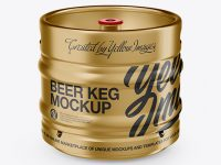 30L Metallic Beer Keg Mockup - Front View