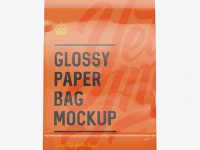 Glossy Paper Food/Snack Bag Mockup - Front View