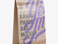 Glossy Kraft Paper Food/Snack Bag Mockup - Halfside View