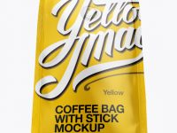 Glossy Coffee Bag With Valve Mockup - Hero Shot