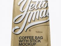 Matte Metallic Coffee Bag With Valve Mockup - Hero Shot