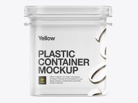 Clear Plastic Container Mockup - Front View