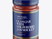 Glass Jar with Strawberry Jam Mockup - Front View (High Angle Shot)