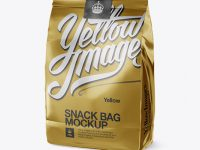 Metallic Snack Bag With Label Mockup - Half Side View
