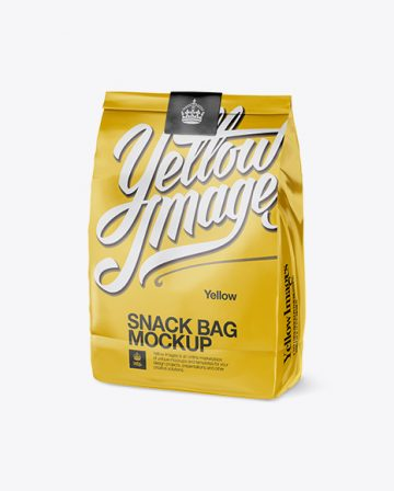 Glossy Snack Bag With Label Mockup - Half Side View