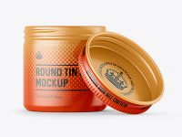50ml Open Round Tin Box with Matte Finish Mockup - Front View