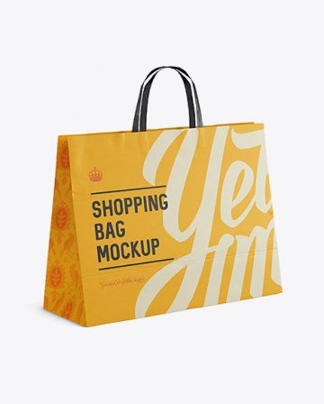 Paper Shopping Bag Mockup - Halfside View