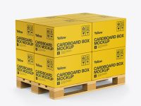 Wooden Pallet With 8 Paper Boxes Mockup - Half Side View