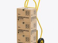 Hand Truck With Boxes Mockup - Half Side View