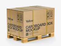 Wooden Pallet With Kraft Box & Straps Mockup - Half Side View