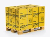 Wooden Pallet With 8 Strapped Paper Boxes Mockup - Half Side View