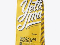 Glossy Paper Snack Bag Mockup - Half Side View