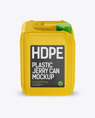 5L Plastic Jerry Can Mockup - Front View (High-Angle Shot)