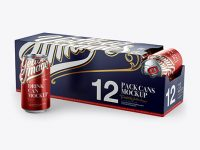 12 Aluminium Cans with Metallic Finish in Shelf-Ready Opened Package - Halfside View