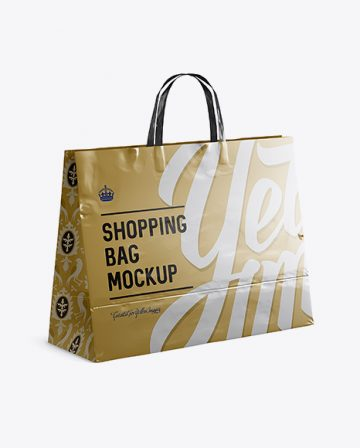 Metallic Paper Shopping Bag Mockup - Halfside View