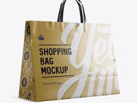 Metallic Paper Shopping Bag Mockup - Halfside View (Eye-Level Shot)