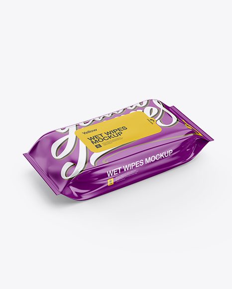 Wet Wipes Pack Mockup - Half Side View (High-Angle Shot)