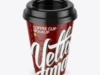 Glossy Coffee Cup Mockup (High-Angle Shot)