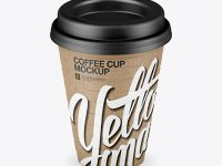 Kraft Coffee Cup Mockup (High-Angle Shot)