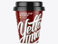 Glossy Coffee Cup Mockup - Front View