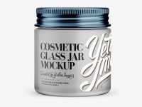 Frosted Glass Cosmetic Jar Mockup - Front View