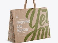 Kraft Paper Shopping Bag Mockup - Halfside View