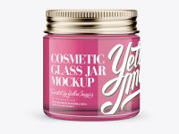 Clear Glass Cosmetic Jar Mockup - Front View