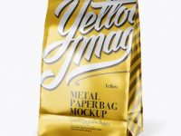 Metallic Paper Snack Bag Mockup - Half Side View